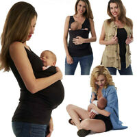 Women Summer Sleeveless Kangaroo Mommy Pocket Top Breastfeed T-Shirt Blouse US