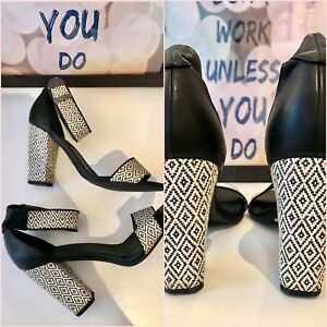 "ASOS Black White Ethnic Print Block Ankle Heels 4"" Sandals Size 5 38"