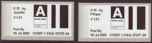 2009 early Post & Go type stamps. Airmail packet & printed paper rates.