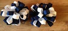 1 Par De Azul Marino y Blanco Arcos de la cinta Chiflados escuela en los clips-BONNIE LASS Arcos