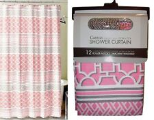 Canvas- Fabric Shower Curtain Set Metal Hooks Pink White Gray Water Resistant