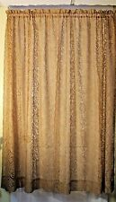 1 PR. ANTIQUE VINTAGE  NET LACE CURTAIN  PANELS 'FLOWERS""