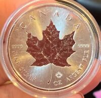 2018 1 oz Silver Canadian Maple Leaf With Maple Leaf Privy $5 Coin BU - Canada