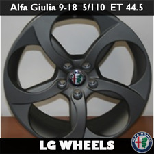 Cerchio Lega Nuovo e Originale Alfa Romeo Giulia → 9x18 ET44.5 5x110, Matt Black