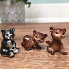 3 Vintage Miniature Tiny Ceramic Teddy Bears Grizzly Cub Dollhouse Brown Black