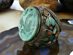 Vintage Chinese Silver Carved Turquoise Bird RING Coral Flower Massive Unique 10