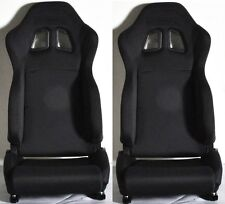 1 PAIR BLACK CLOTH RACING SEATS RECLINABLE + SLIDERS FOR DODGE