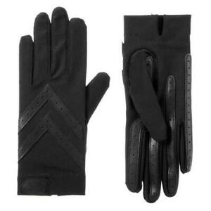 Ladies UNLined Isotoner Spandex Shortie Smartdri Gloves BLACK S/M or L/XL