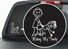 Funny STICK FIGURE FAMILY Vinyl Bumper Sticker / Window Decal Making My
