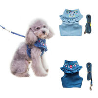 Denim Dog Harness And Leash Embroidered Jeans Pet Vest For Puppy Traction Vest
