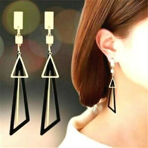 Long Drop Big Gold Statement Geometric Triangle Dangle Earrings Black Pink Green
