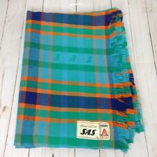 SAS Bruckmuhl Multicolored Acrilan Plaid Nonflammable Throw Blanket 48x66