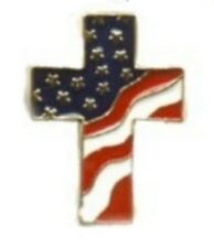 New listing Usa American Flag Cross Religious Lapel Pin, 4th of July Gift, Made in Usa, New