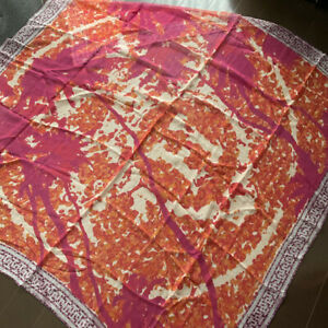 Hermes Mousseline Silk Shawl Scarf Stole A Beverly Hills Chiffon Orange Red 140