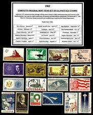 1962 COMPLETE YEAR SET OF MINT NH (MNH) VINTAGE U.S. POSTAGE STAMPS