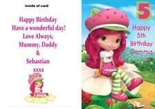 Birthday Card Personalised with Strawberry Shortcake Print - Any name and Age