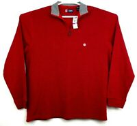 Chaps Mens Red Long Sleeve Quarter Zip Long Sleeve Shirt Size XXL New