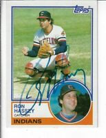 RON HASSEY 1983 TOPPS AUTOGRAPHED BASEBALL CARD 689 CLEVELAND INDIANS