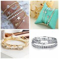 4pcs/set Women Star Moon Love Heart Bracelet Bangle Chain Bracelet New Jewelry