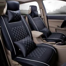 Black &White 5-Seat Universal Needlework PU Leather Car Seat Cover Set w/ Pillow