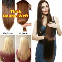 Real Thick Double Weft Clip In 100% Remy Human Hair Extensions Full Head Long Zz