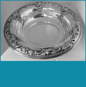 """10 3/4"""" sterling  silver BOWL in GRANDE BAROQUE  pattern by WALLACE 444grams"""