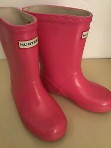Hunter original girls pink waterproof rubber rain boots US size 11 Euro 27