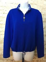 St John Sport Marie Gray Royal Blue Santana Knit Sweater L 1/4 Zip Tie Waist