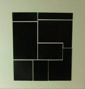 Max Gerhard  Konkrete Kunst  8 schwarze Formen auf weißem Grund Holz Relief