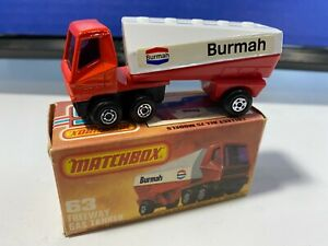 VINTAGE MATCHBOX LESNEY #63 EURO FREEWAY GAS TANKER BURMAH NICE NEVER PLAY WITH