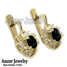 14k Solid Yellow Gold Diamond and Black Sapphire Russian Earrings #E1094