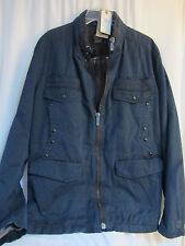 HUGO BOSS Orange Men's Blue Linen and Cotton P-Coat, Size 44R