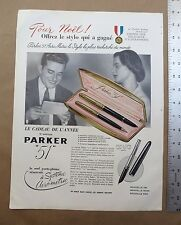 Vintage 1950 11x15 French Color Ad PARKER 51 Fountain Pen Porte Plume Resevior