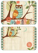 Corelle Owl Reversible Placemats 2Pc Birds Flexible Wipe Clean Protects Table