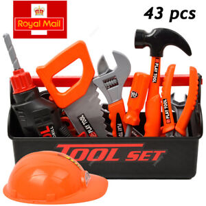 Childrens Boys Toy Work Bench With 43PCS Tools Hard Hat Role Play Builders Set