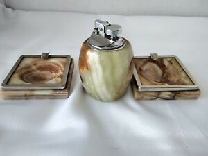 MCM Onyx of Pakistan Table Lighter with matching Ashtrays Made in Italy