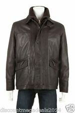 WOODLAND LEATHER RIBBED INSET COLLAR COAT MEN'S XL 42-44 100% LEATHER BNWT