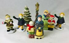 "6 pc Porcelain Christmas Village Accessory Figurines Tree & Lamp Post People 3"""