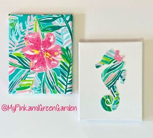 New Set Of 2 Wall Canvases Made with Lilly Pulitzer Jungle Lilly fabric