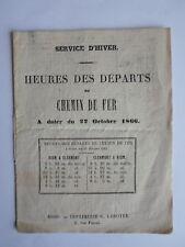 Indicateur CHEMIN de FER heures des départs RIOM CLERMONT CLERMONT RIOM 1866