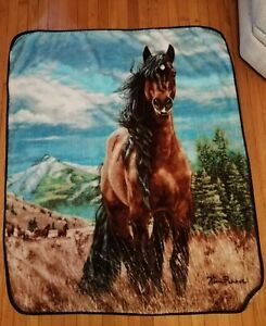 "Horse Design Throw Blanket ""Freedom"" Kim Penner Northwest 58 in X 48 in"