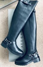 AllSaints Sheva Leather Over The Knee Black Boots, Size UK5 / EU38, Brand New