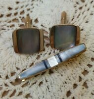 Vintage Mother Of Pearl Cuff Links & Tie Clip Set