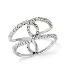 ABSOLUTE  0.29 CTW STERLING SILVER OPEN TWIST NEGATIVE SPACE RING SIZE 6 HSN