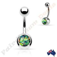 with Dark Green Glitter Opal 316L Surgical Steel Silver Belly Ring