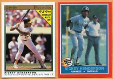 1987 Fleer Hottest Stars Rickey Henderson #20 &1991 O-Pee-Chee 939 Stolen Bases