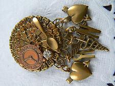 Clock Spoon Doctor Nurse (Br15) Vintage Brooch Pin Gold Tone