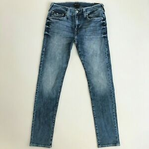 True Religion Mens 33 x 34 Rocco Relaxed Skinny Fit Blue Jeans Pants New 105174