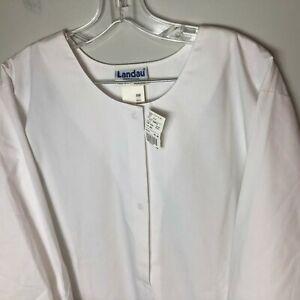 Landau Women's Warm-up Scrub Jacket Snap Front Style 7525 Size 4XL White WWP