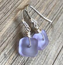 Min Favorit Periwinkle Sea Glass Square & Silver Pl Artisan Earrings Petite